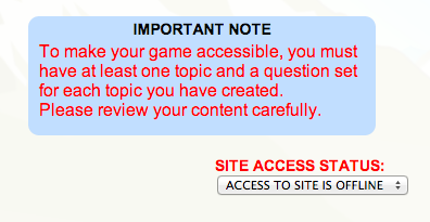 Game Access Error