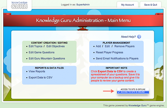 Knowledge Guru Site Access
