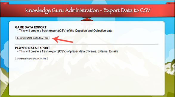 "Select ""Export Game Data"" to get the right spreadsheet."
