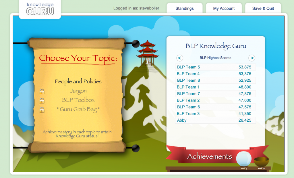 Basic policies and procedures work well within Knowledge Guru games.