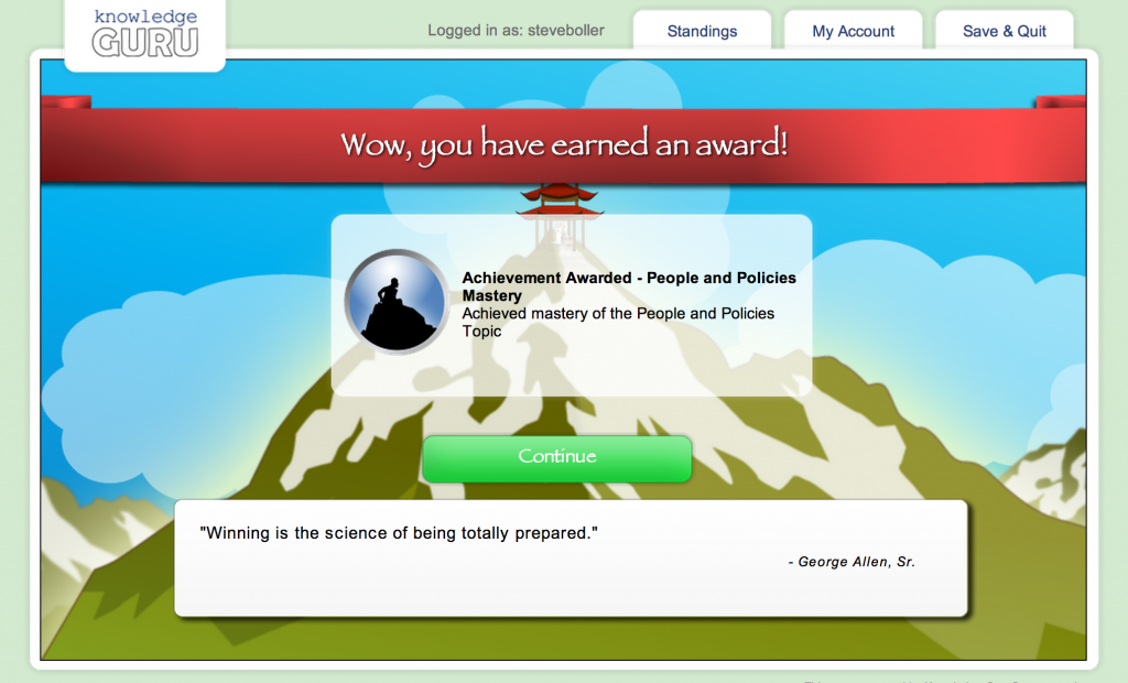 Players receive badges and topic mastery achievements when they complete on-boarding topics.